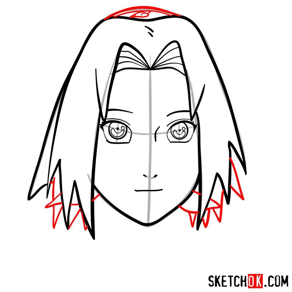 How to draw Sakura Haruno's face - step 08
