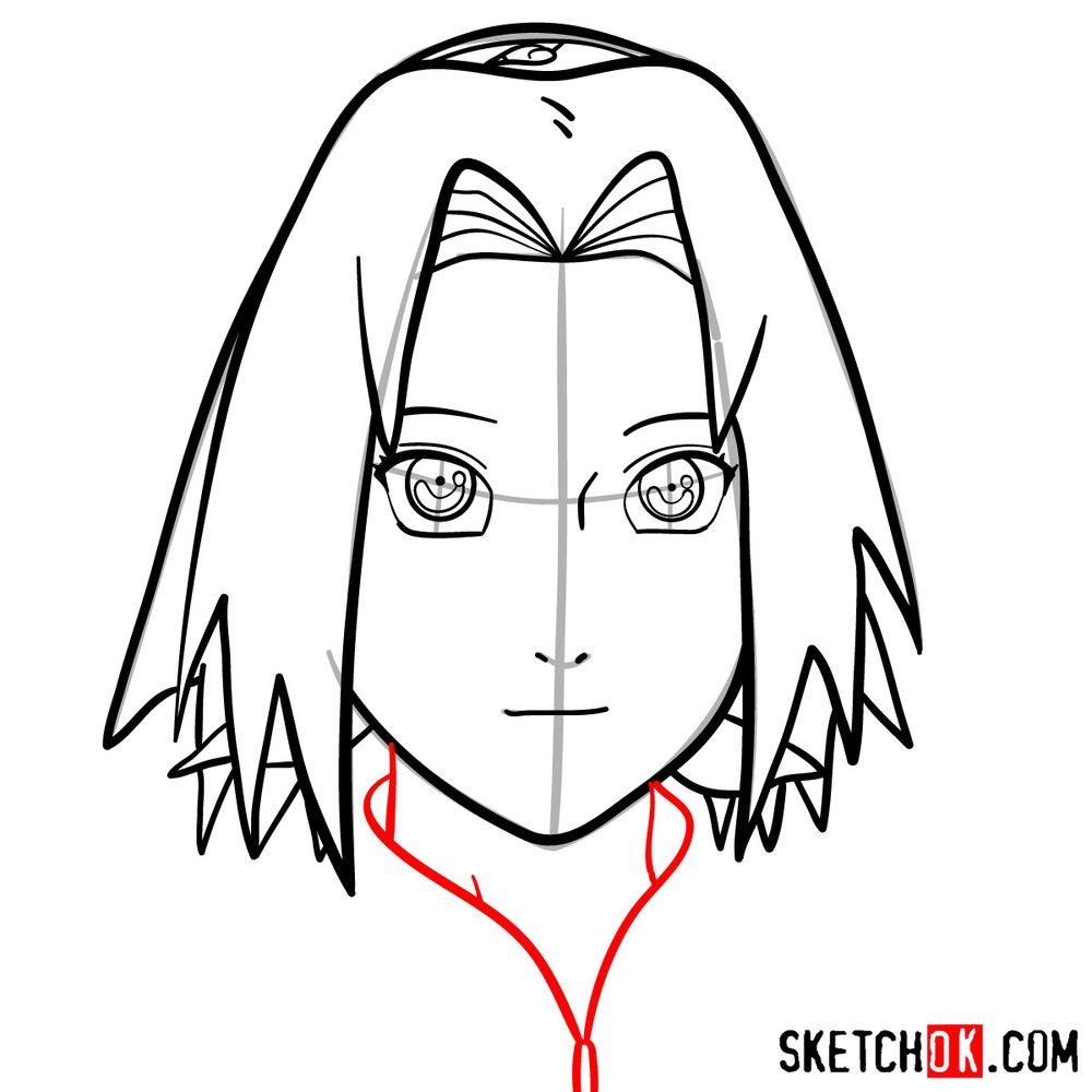 How to draw Sakura Haruno's face - step 09