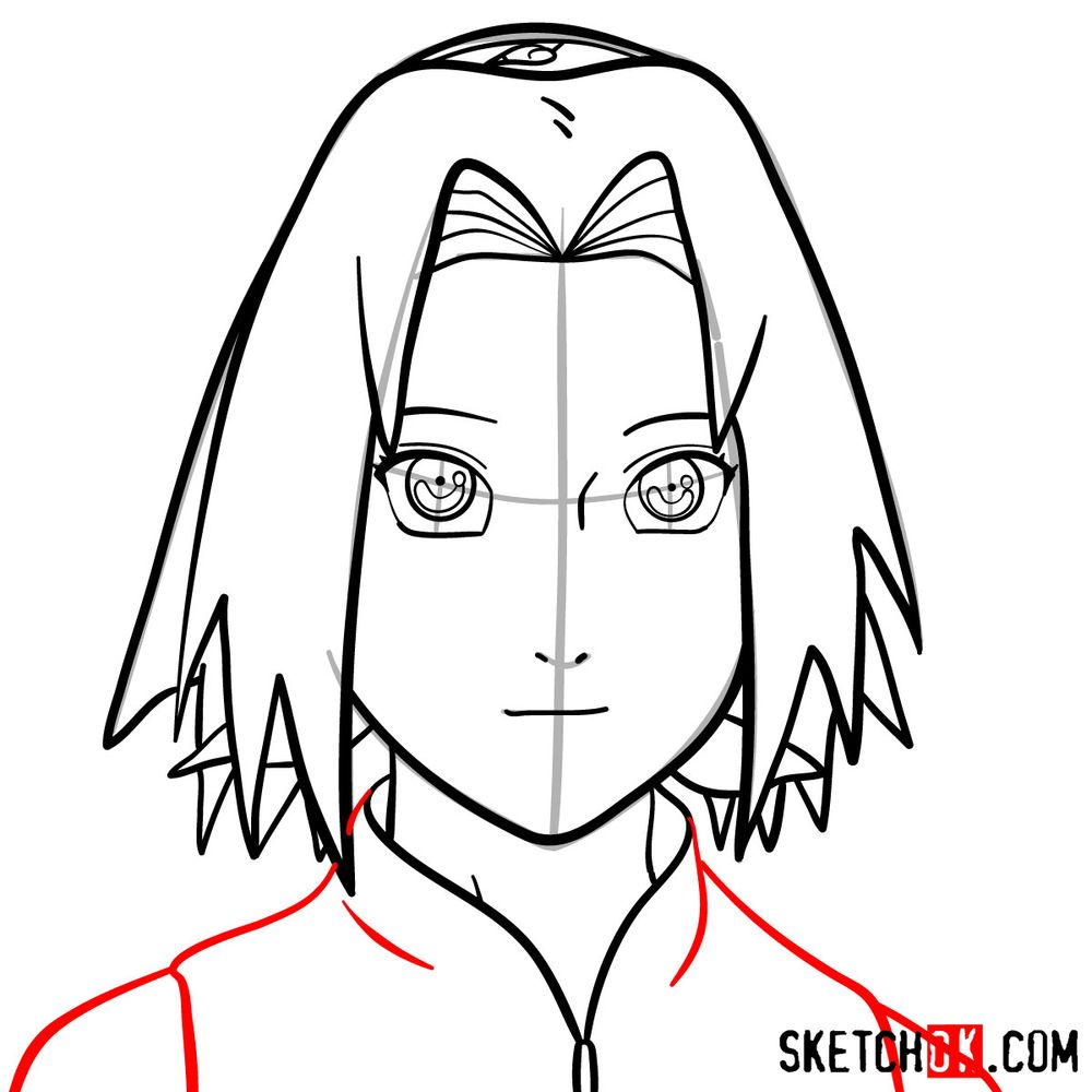 How to draw Sakura Haruno's face - step 10