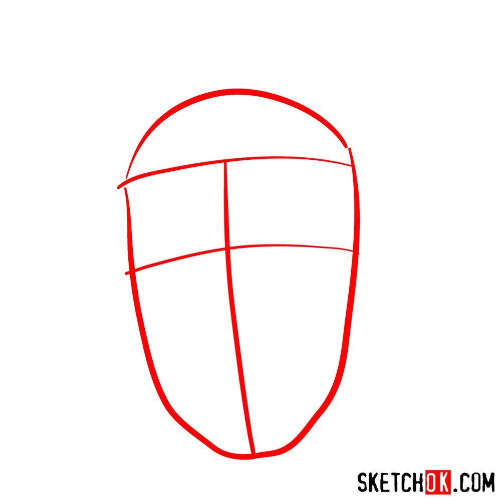 How to draw Iruka Umino's face - step 01