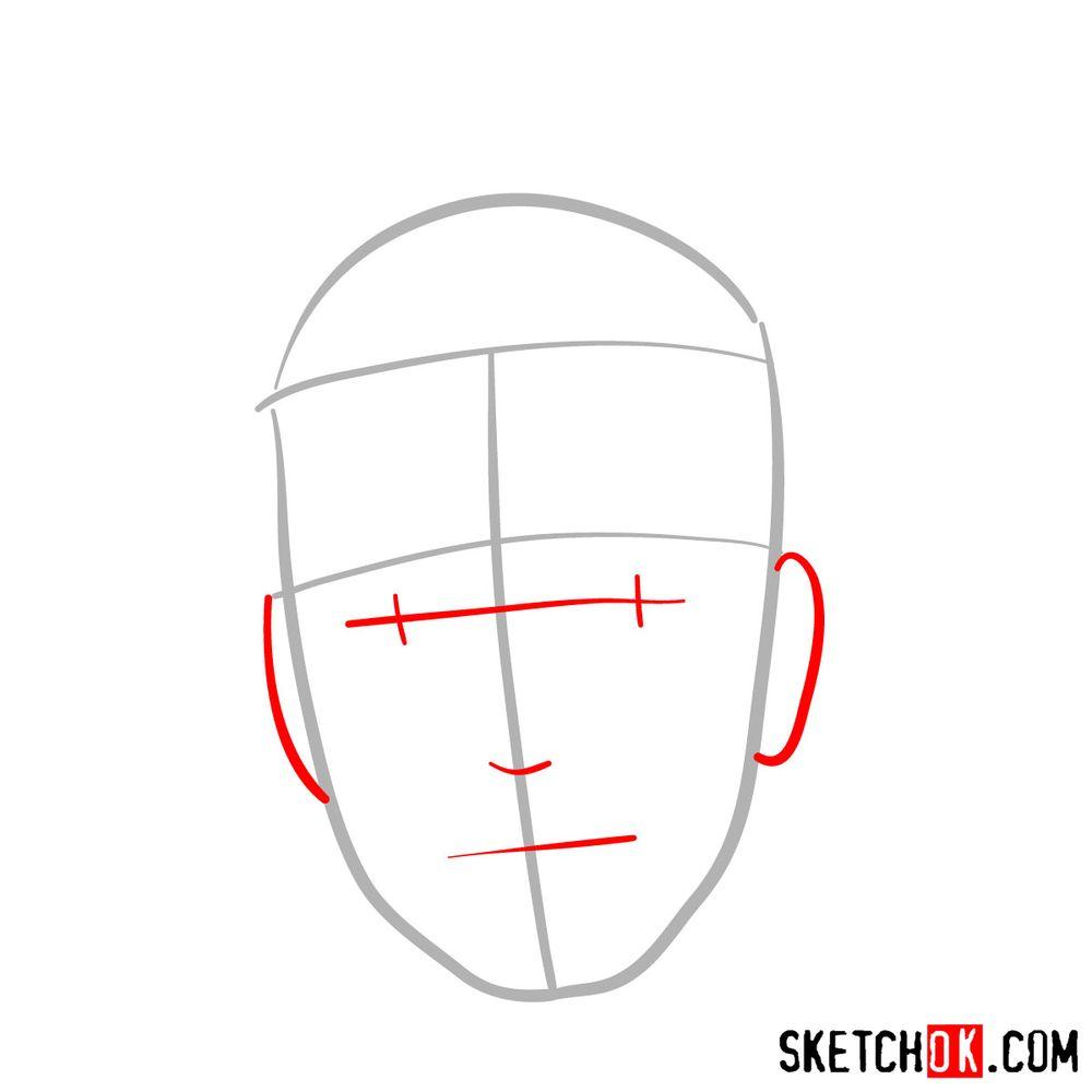 How to draw Iruka Umino's face - step 02