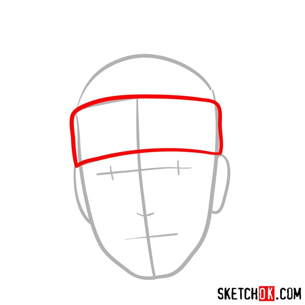 How to draw Iruka Umino's face - step 03