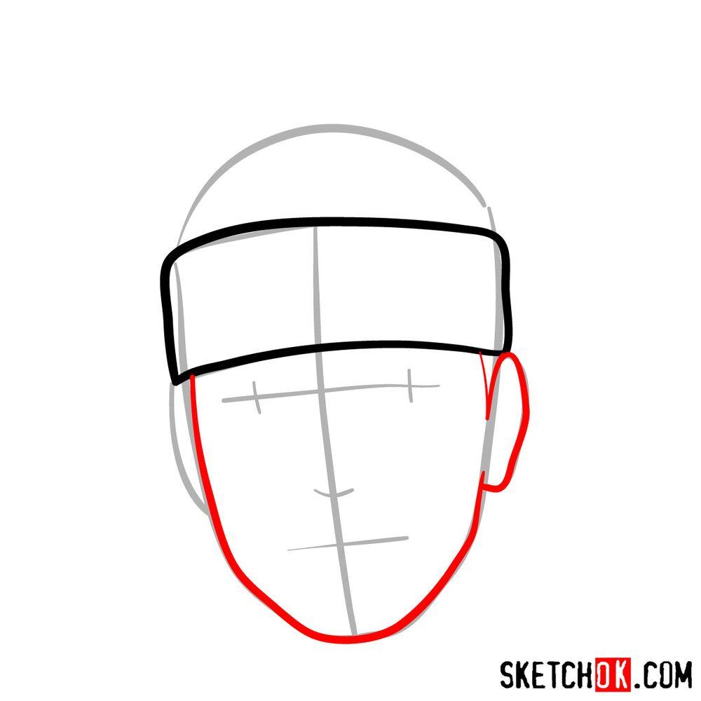 How to draw Iruka Umino's face - step 04