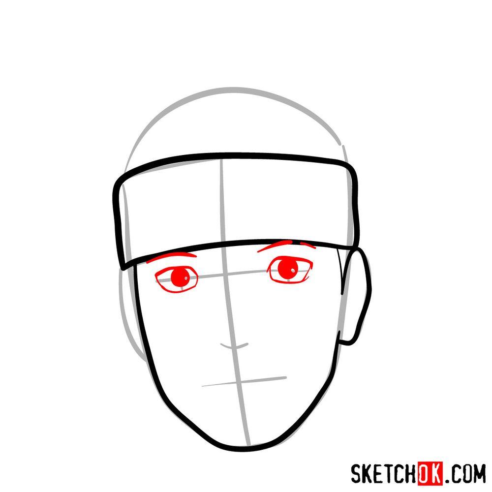 How to draw Iruka Umino's face - step 05