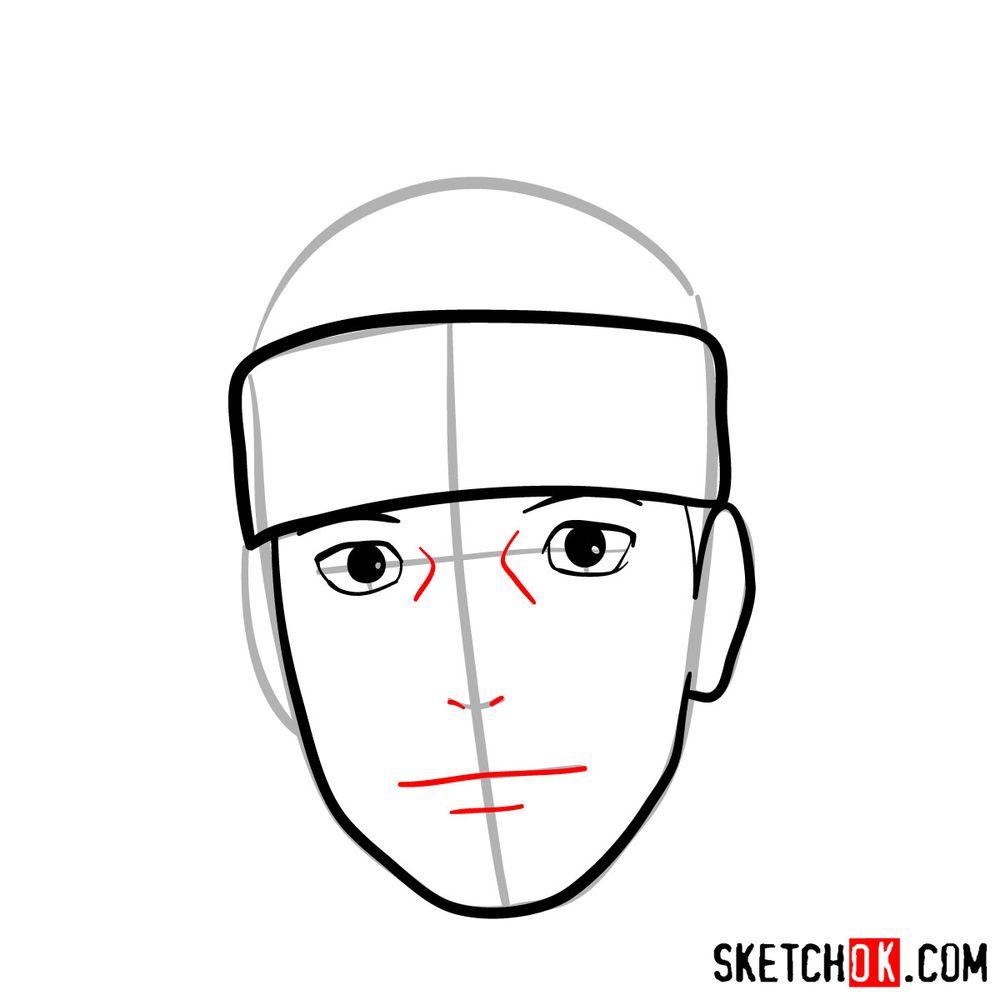 How to draw Iruka Umino's face - step 06
