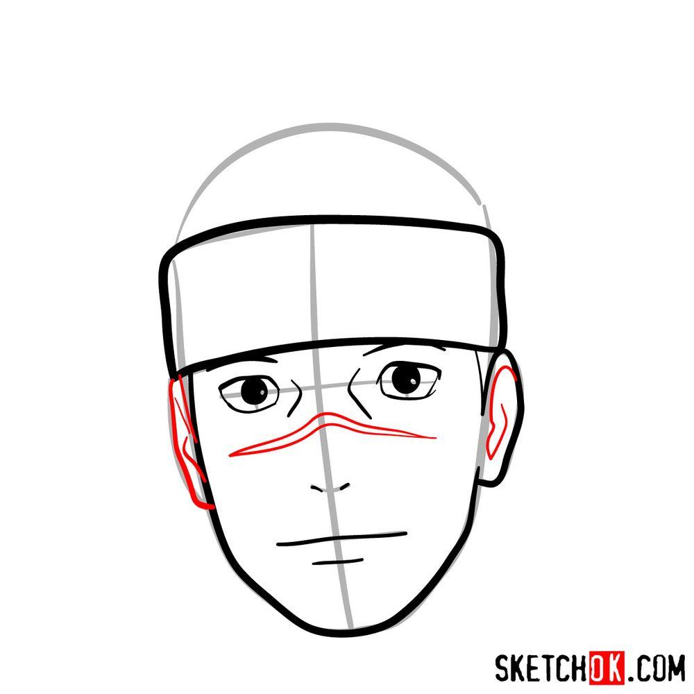 How to draw Iruka Umino's face - step 07