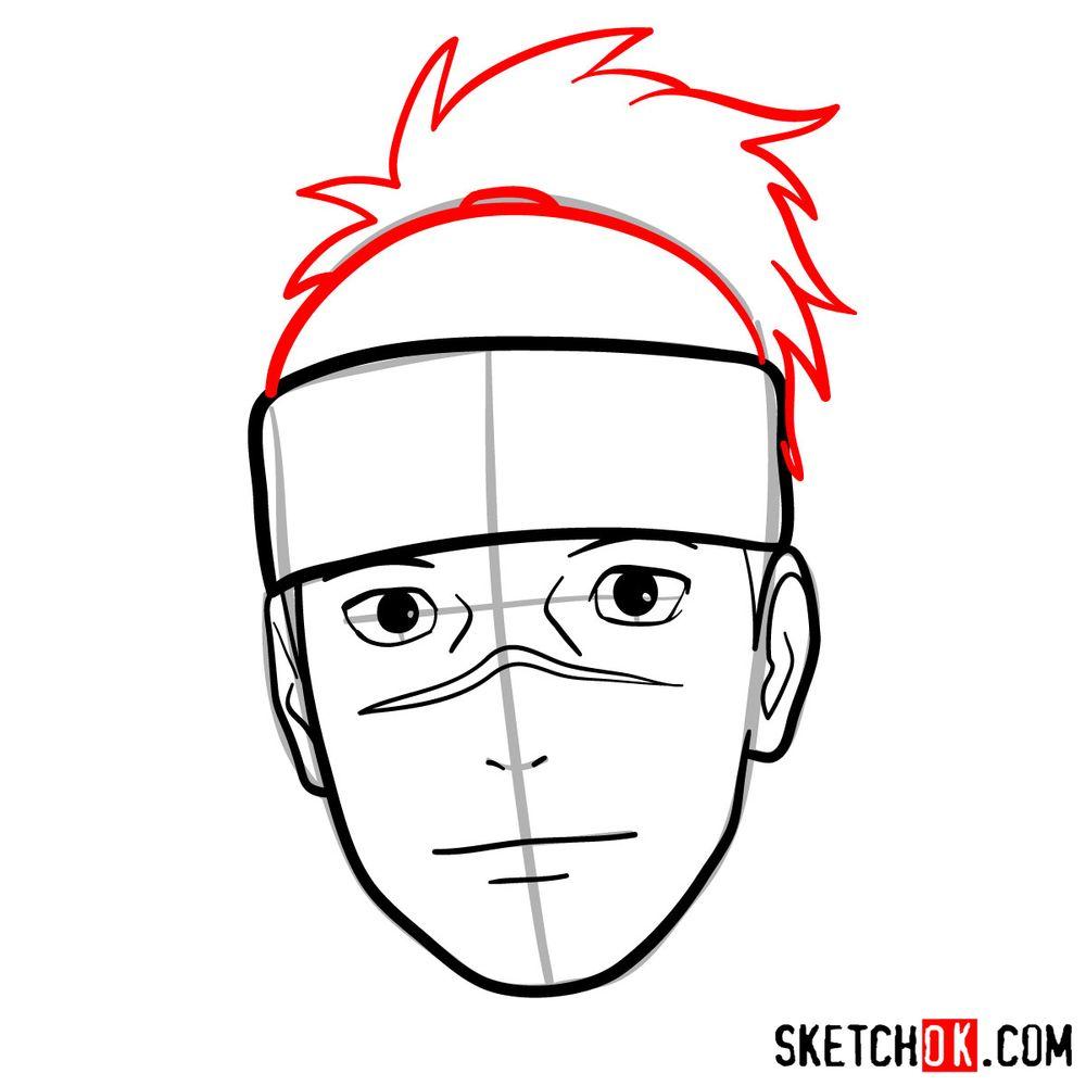 How to draw Iruka Umino's face - step 08