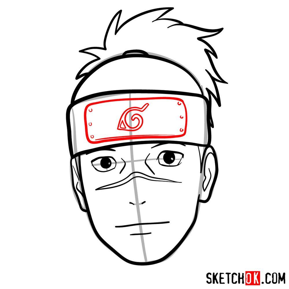 How to draw Iruka Umino's face - step 09