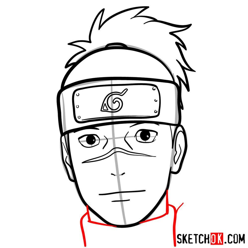 How to draw Iruka Umino's face - step 10