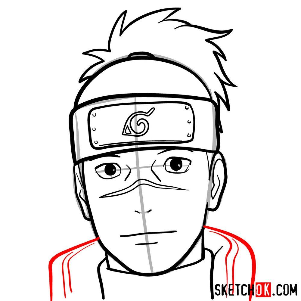 How to draw Iruka Umino's face - step 11