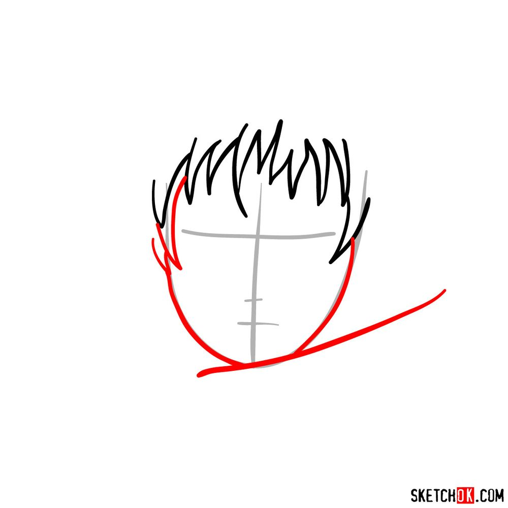 How to draw Sasori's face - step 03