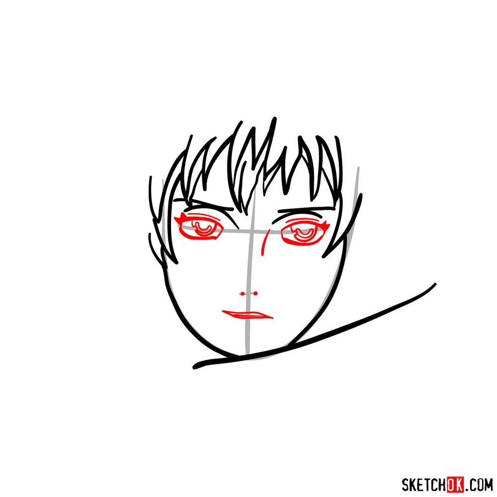 How to draw Sasori's face - step 05