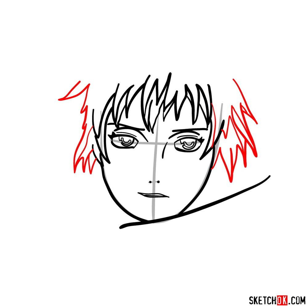 How to draw Sasori's face - step 06