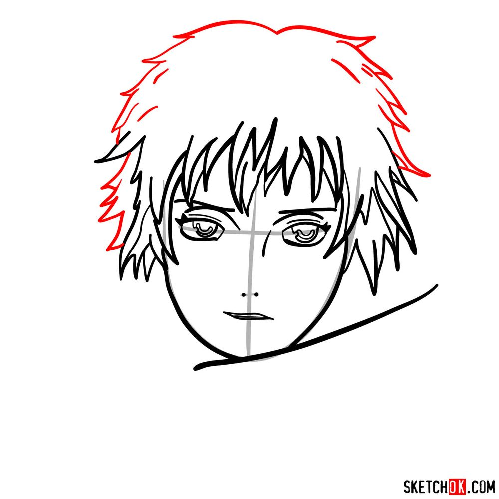 How to draw Sasori's face - step 07
