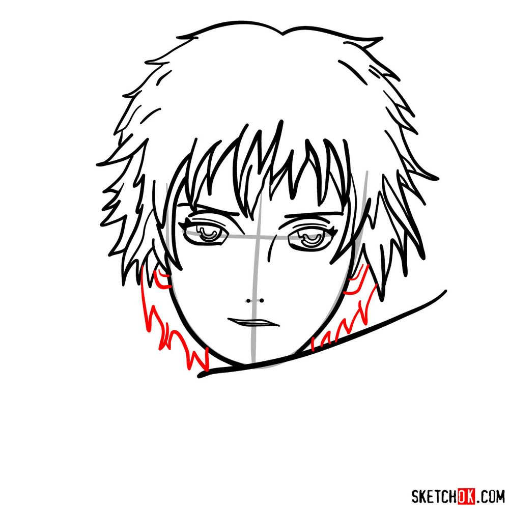 How to draw Sasori's face - step 08