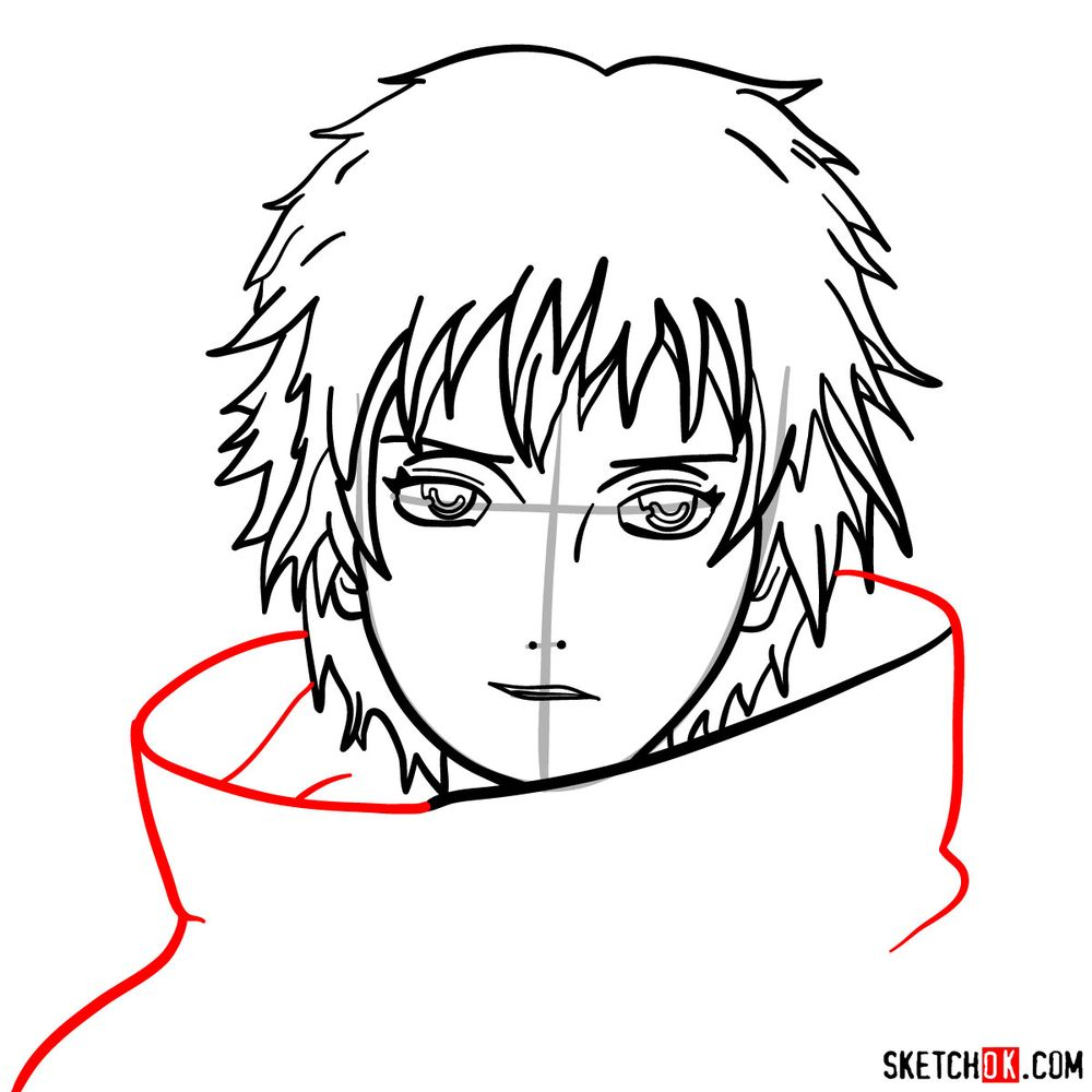 How to draw Sasori's face - step 09