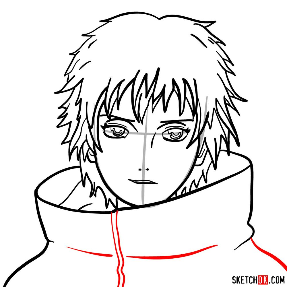 How to draw Sasori's face - step 10