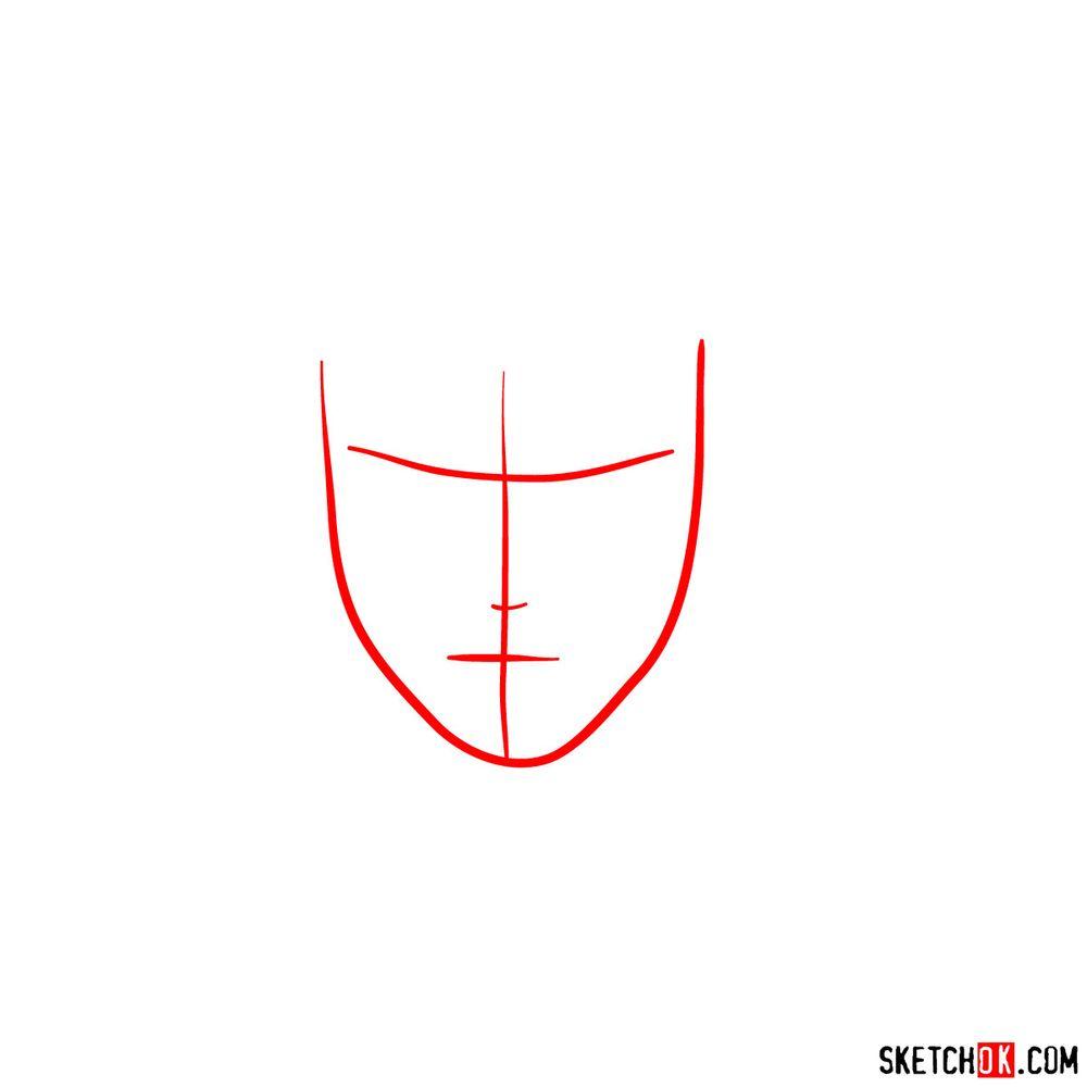 How to draw Sai Yamanaka's face - step 01
