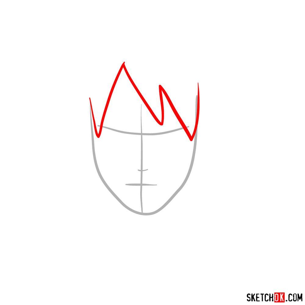 How to draw Sai Yamanaka's face - step 02