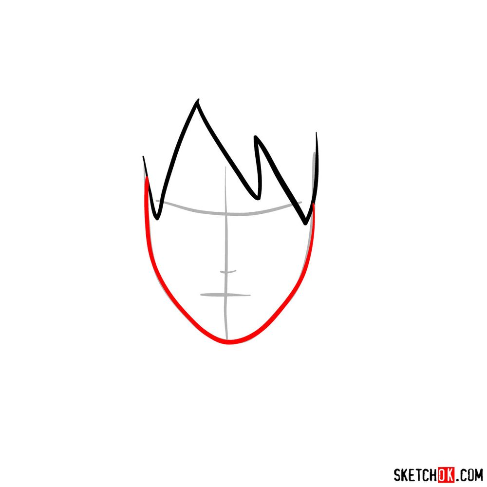 How to draw Sai Yamanaka's face - step 03