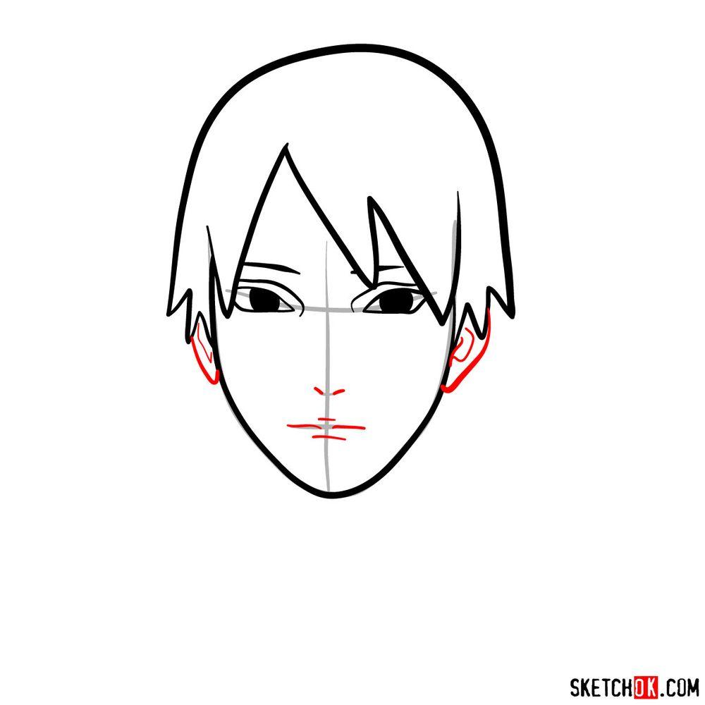 How to draw Sai Yamanaka's face - step 06