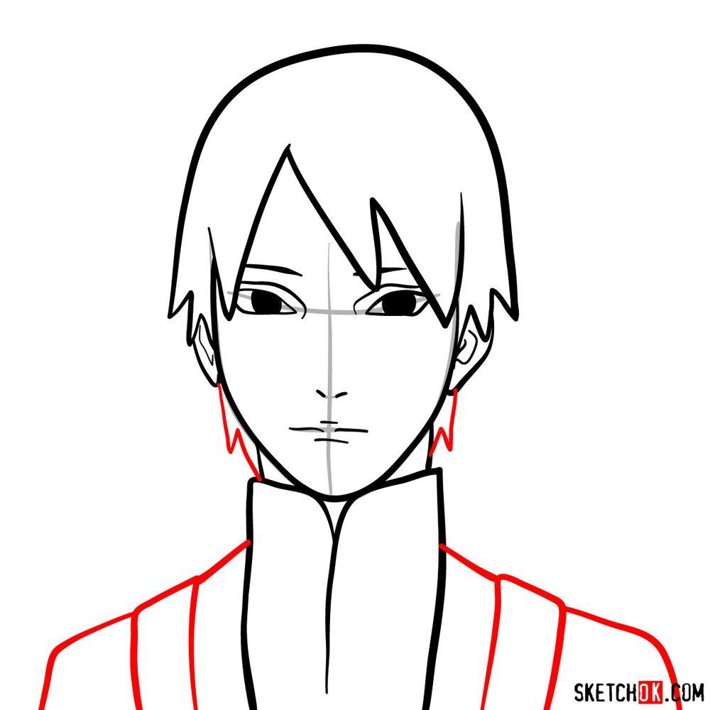 How to draw Sai Yamanaka's face - step 08