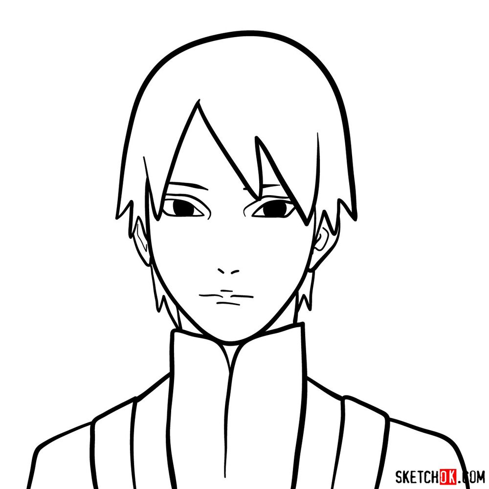 How to draw Sai Yamanaka's face
