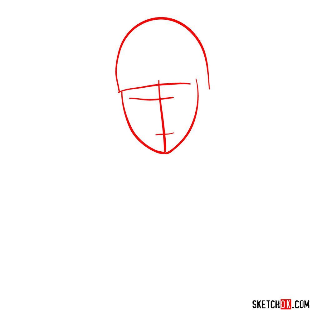How to draw Deidara's face - step 01