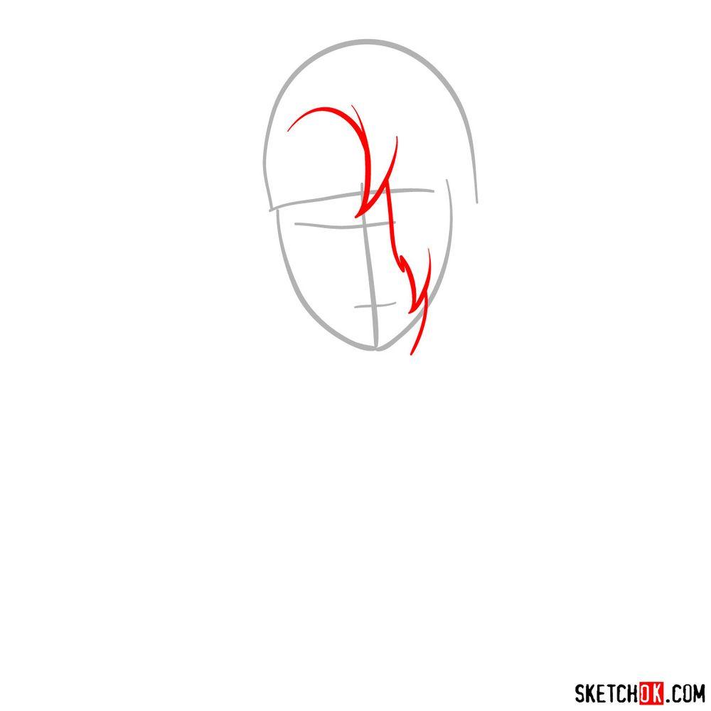 How to draw Deidara's face - step 02