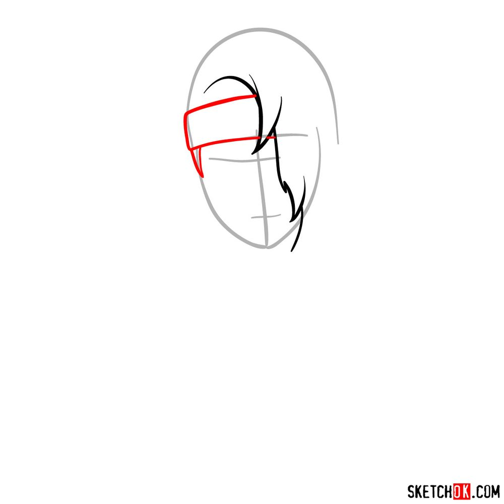 How to draw Deidara's face - step 03