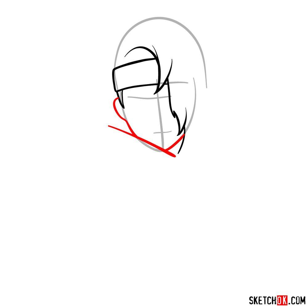 How to draw Deidara's face - step 04