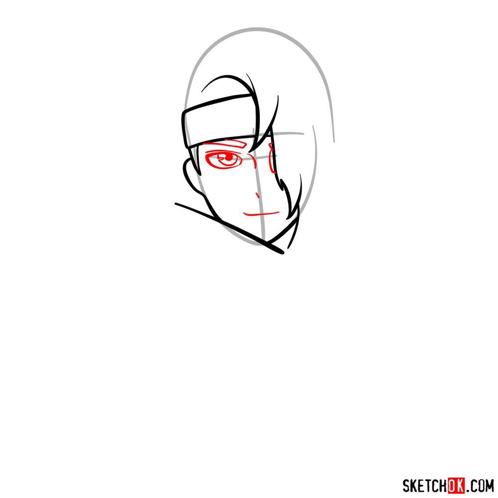 How to draw Deidara's face - step 05