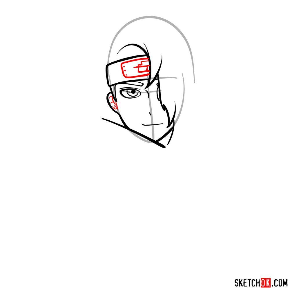 How to draw Deidara's face - step 06