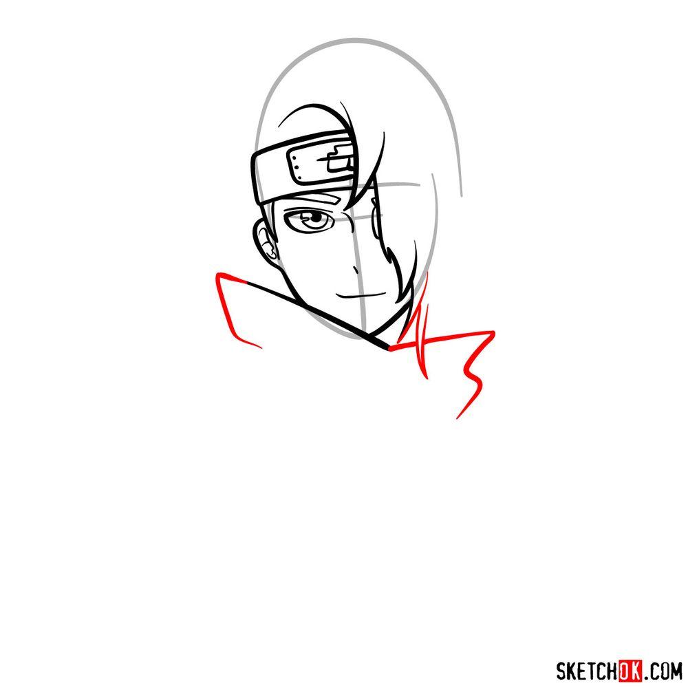 How to draw Deidara's face - step 07