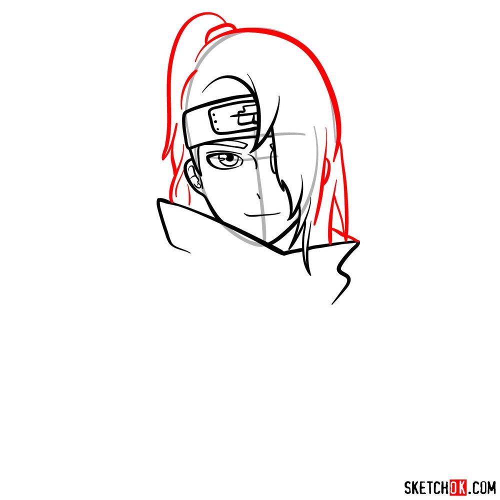 How to draw Deidara's face - step 08