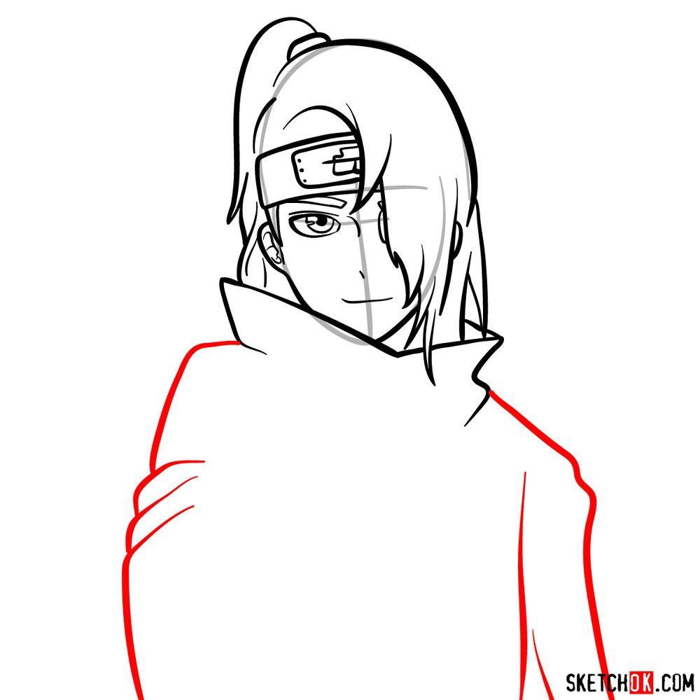 How to draw Deidara's face - step 09