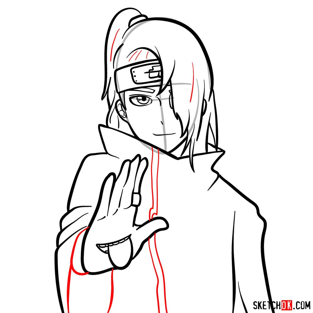 How to draw Deidara's face - step 12