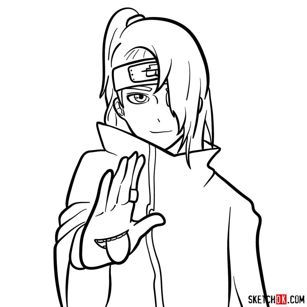 How to draw Deidara's face