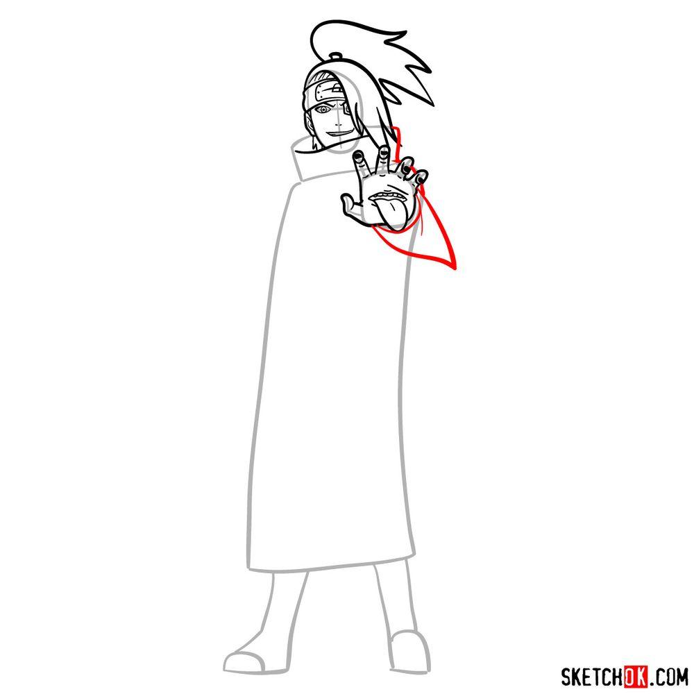 How to draw Deidara - step 10