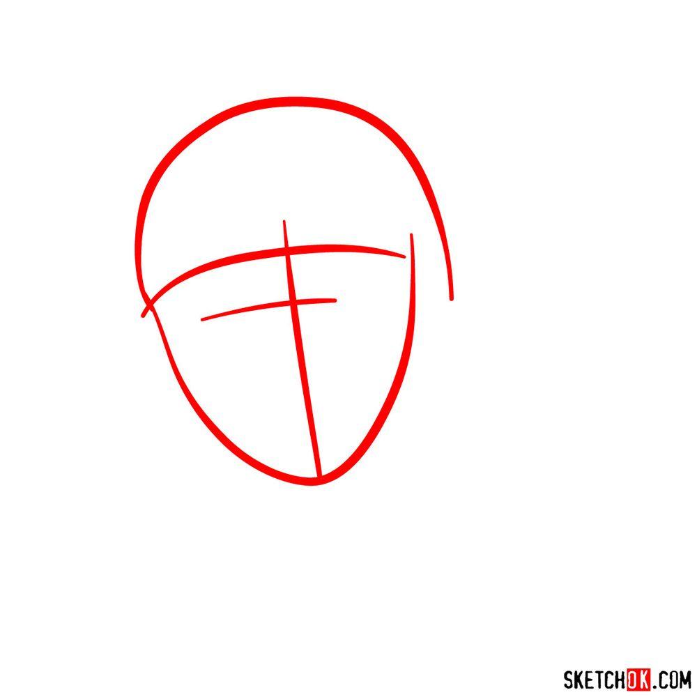 How to draw angry Deidara - step 01