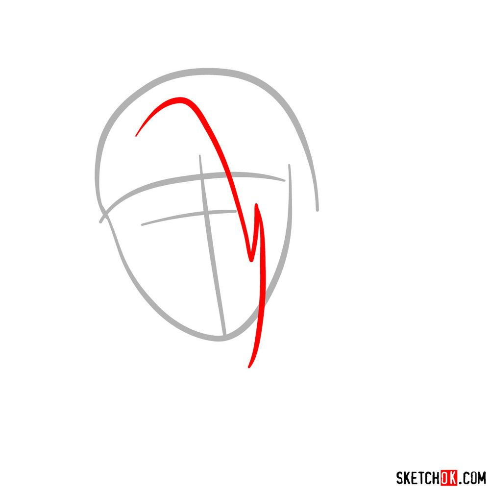 How to draw angry Deidara - step 02