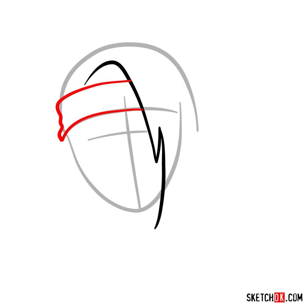 How to draw angry Deidara - step 03