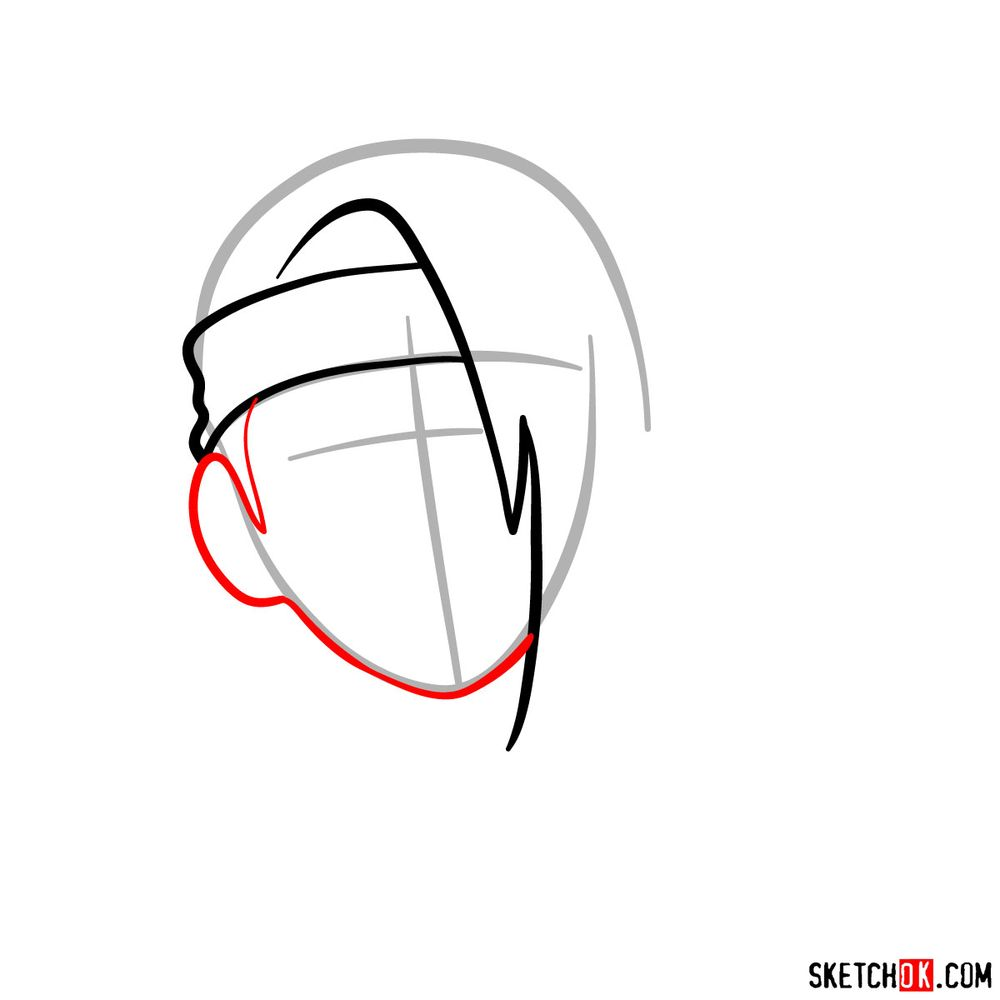 How to draw angry Deidara - step 04