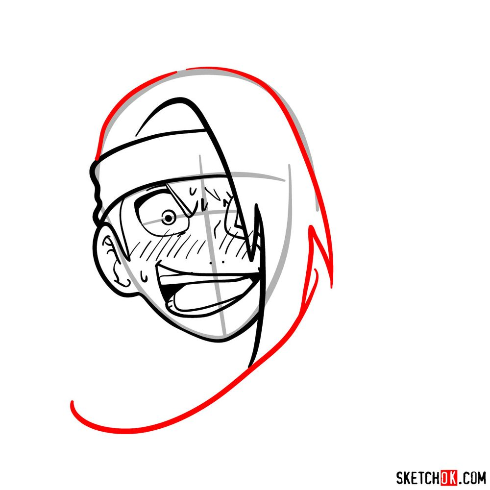 How to draw angry Deidara - step 09
