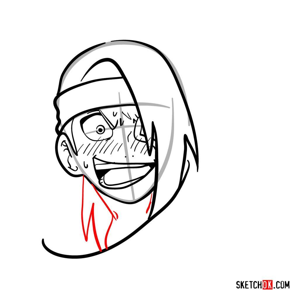 How to draw angry Deidara - step 10
