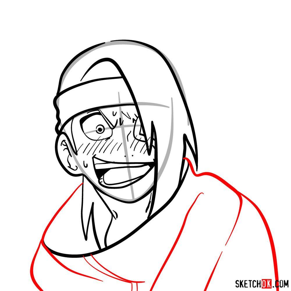 How to draw angry Deidara - step 11