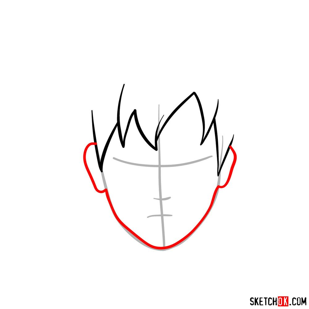 How to draw Gaara's face - step 03