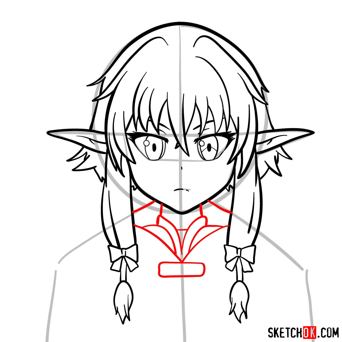 How to draw the she elv scout from Goblin Slayer anime - step 09