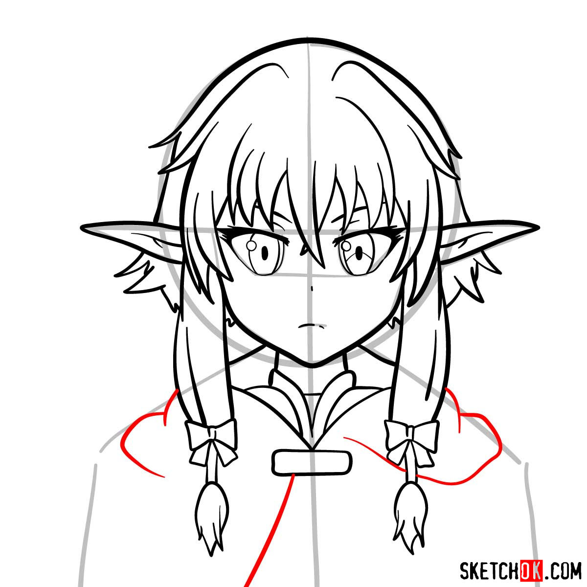 How to draw the she elv scout from Goblin Slayer anime - step 10