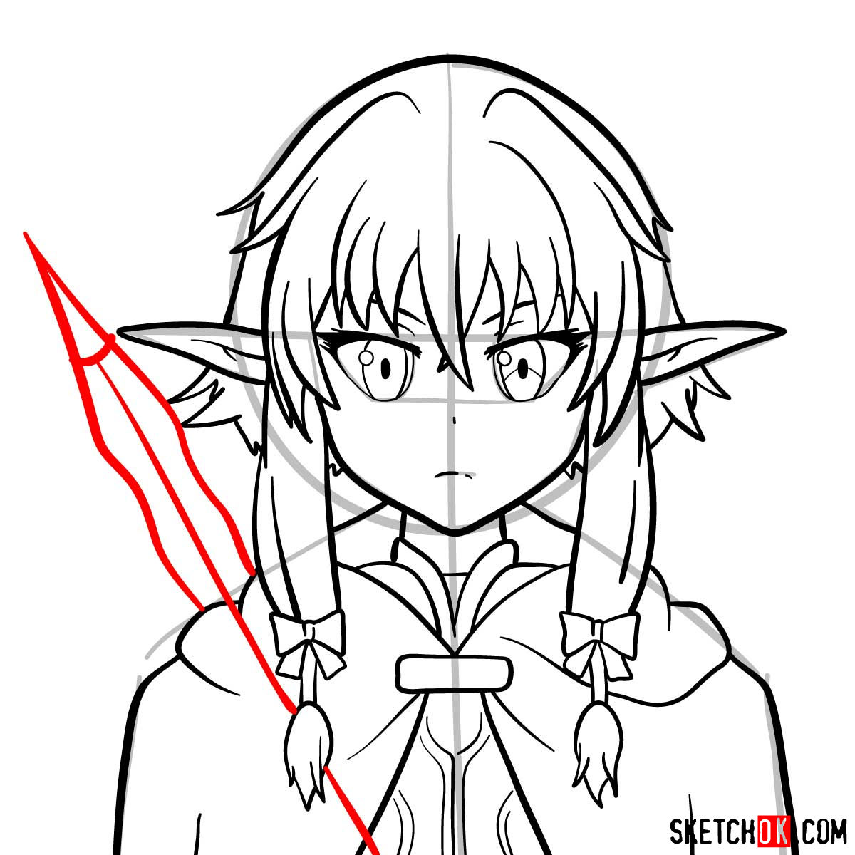 How to draw the she elv scout from Goblin Slayer anime - step 12